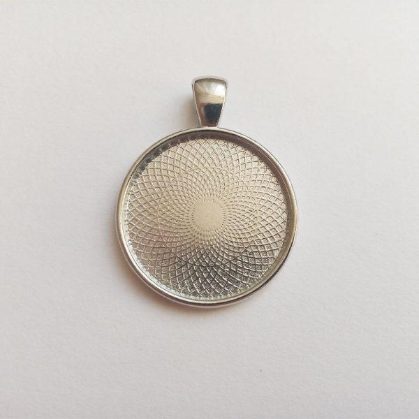egyedi ezüst színű medál alap kaboson alkatrész üveglencsés kulcstartó