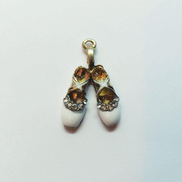 Extra függő charm fityegő női balett cipő fehér strasszos