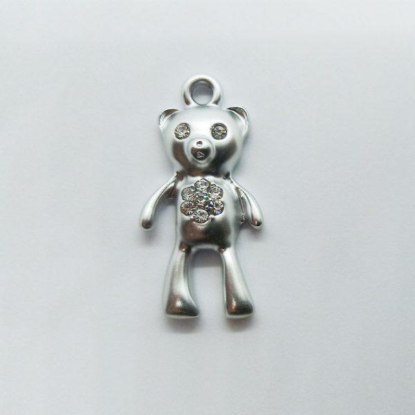 Extra függő állatok medve maci ezüst strasszos