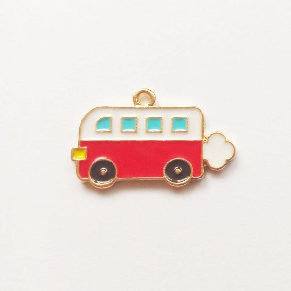 közlekedés fityegő Extra függő jármű piros busz charm