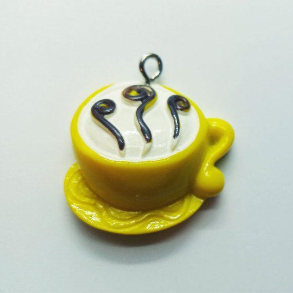 Extra függő charm ital kávé cappuccino sárga bögre