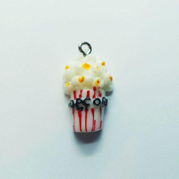 Extra függő étel popcorn, pattogatott kukorica charm fityegő