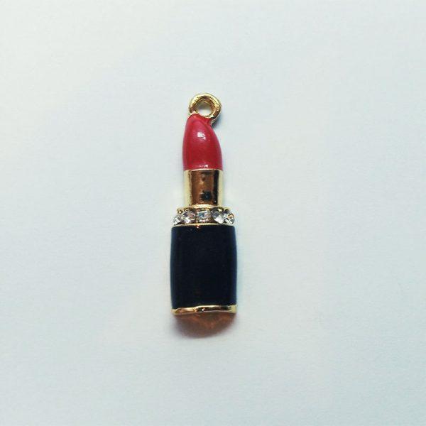 Extra függő charm smink piros rúzs strasszos