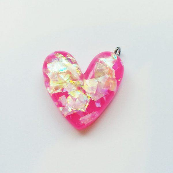 Extra függő csillogó pink szív charm fityegő