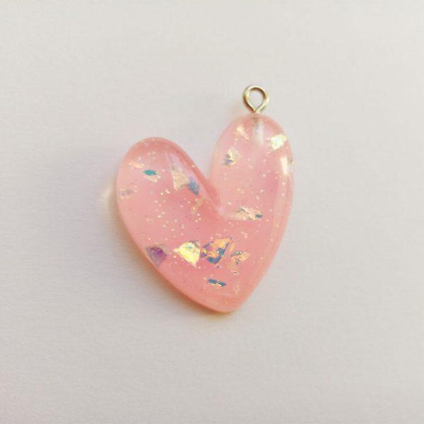 Extra függő charm fityegő szív csillogó rózsaszín