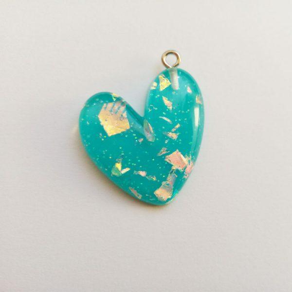 Extra függő charm fityegő szív csillogó kék