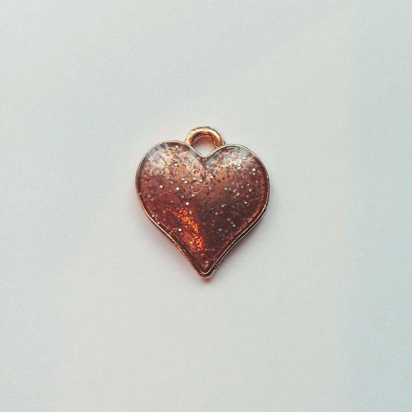 Extra függő szív rosegold charm fityegő