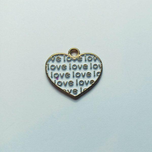 Extra függő szív love feliratos charm fityegő