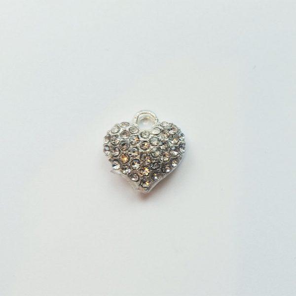 Extra függő szív ezüst strasszos charm fityegő