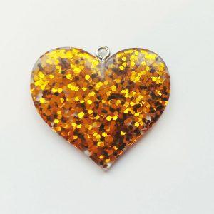 Extra függő nagy csillogó arany szív charm fityegő