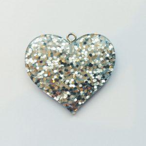 Extra függő nagy csillogó ezüst szív charm fityegő