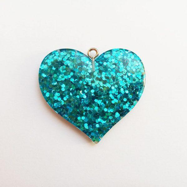 Extra függő charm fityegő nagy szív csillogó kék