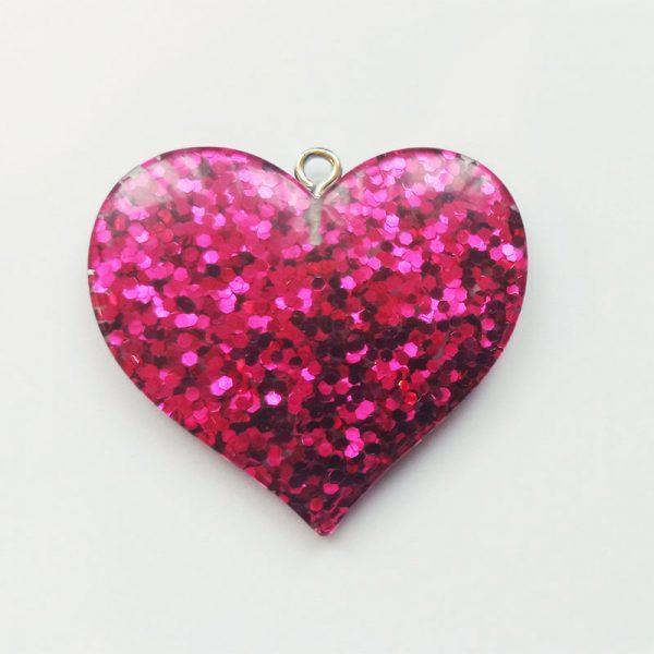 Extra függő nagy csillogó pink szív charm fityegő