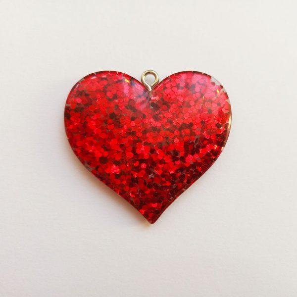 Extra függő charm fityegő nagy szív csillogó piros
