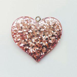 Extra függő nagy rózsaszín csillogó szív több színben charm fityegő