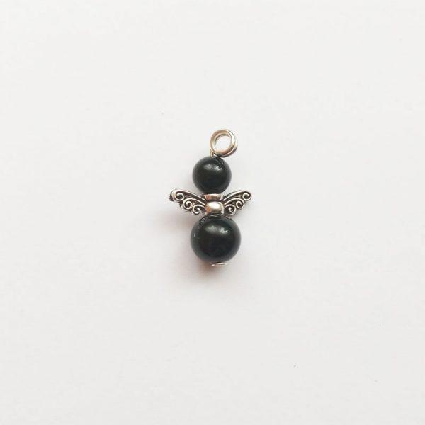 Extra függő ásvány angyal fityegő onix fekete charm