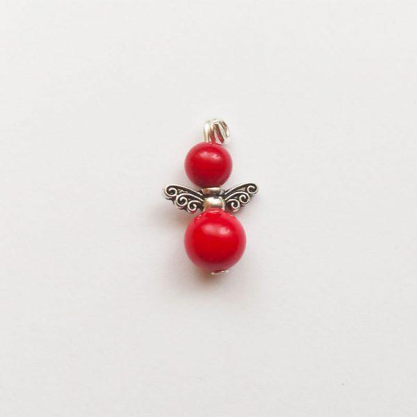 Extra függő ásvány angyal fityegő piros charm
