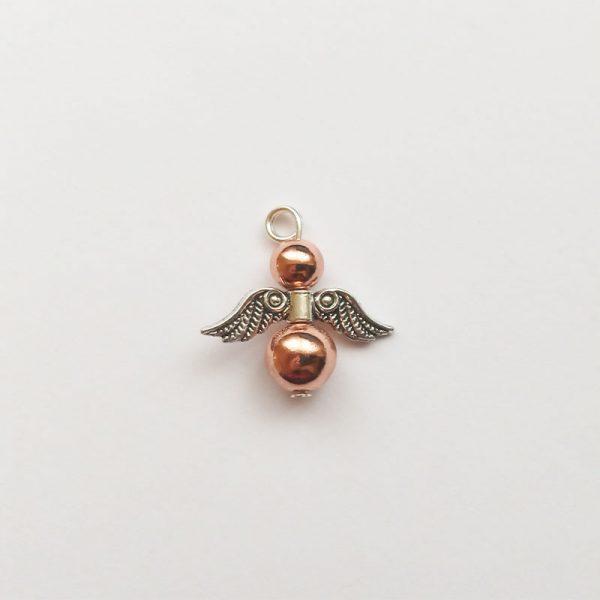 Extra függő charm fityegő ásvány angyal rosegold hematit