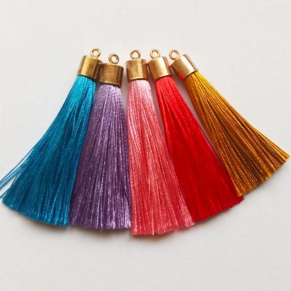 Extra függő selyem bojt charm fityegő színes hosszú