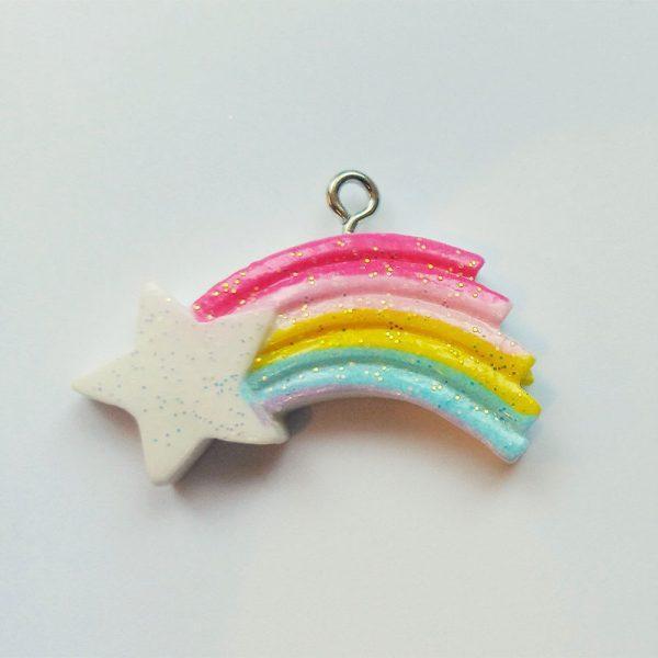 Extra függő csillogó színes üstökös, hulló csillag charm fityegő