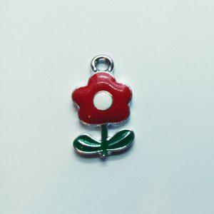 Extra függő piros virág charm fityegő