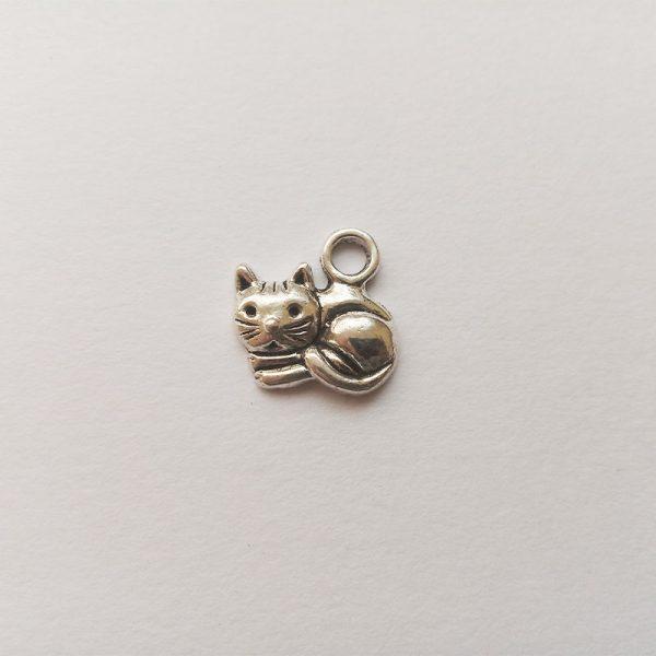 Fém függő charm fityegő ezüst színű cica macska