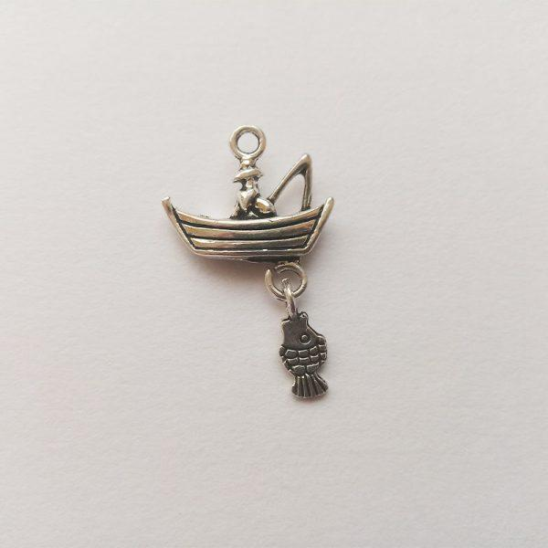 Fém függő charm fityegő ezüst színű állat horgász csónak