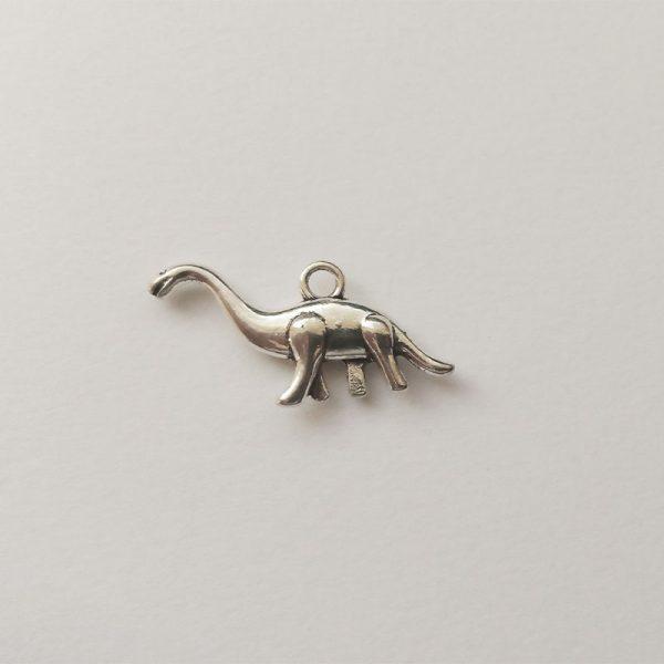 Fém függő ezüst színű dinoszaurusz, dínó charm fityegő