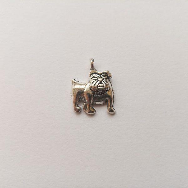 Fém függő charm fityegő ezüst kutya bulldog
