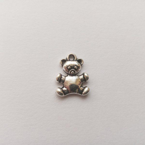 Fém függő charm fityegő ezüst színű állat maci medve