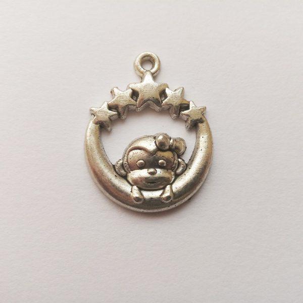 Fém függő charm fityegő ezüst színű állat majom