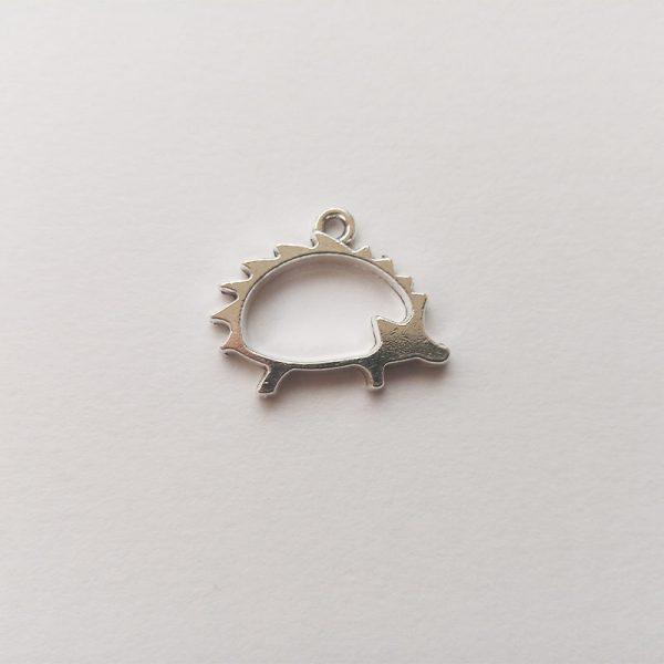 Fém függő charm fityegő ezüst színű állat süni