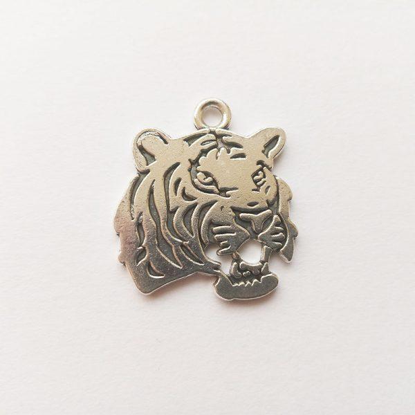 Fém függő charm fityegő ezüst színű tigris fej