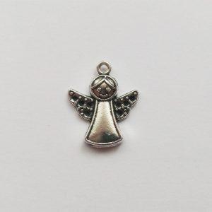 Fém függő ezüst angyal mosolygó charm fityegő