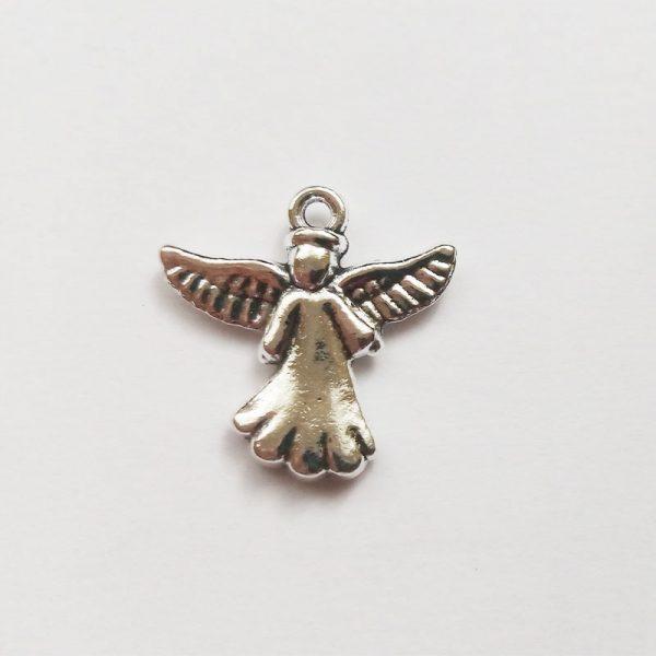 Fém függő ezüst angyal szárnyas charm fityegő