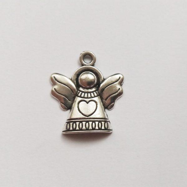 Fém függő ezüst angyal szíves charm fityegő