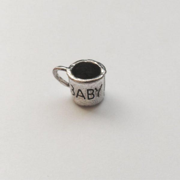 Fém függő charm fityegő ezüst színű pohár baba babavárás