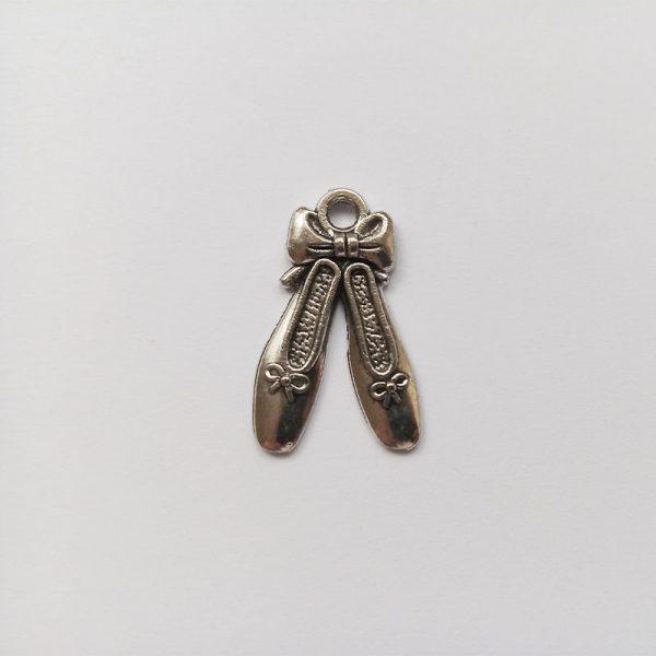 Fém függő charm fityegő ezüst színű balettcipő tánc