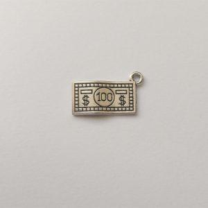 Fém függő charm fityegő ezüst színű dollár pénz könyvelő