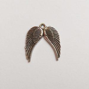 dupla angyalszárny fém függő ezüst charm fityegő