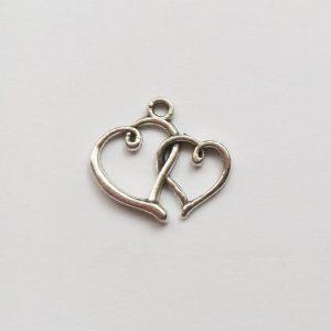 fém függő charm fityegő ezüst szív dupla páros szerelem szeretet