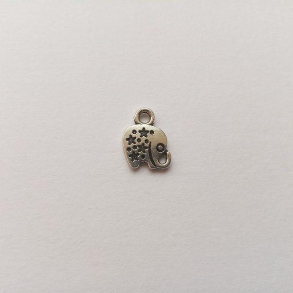 Fém függő charm fityegő ezüst színű elefánt csillagos