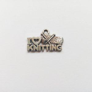 Fém függő charm fityegő I love knitting Szeretek kötni kötés varrás