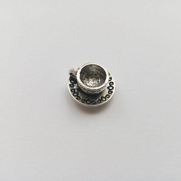 Fém függő charm fityegő ezüst színű kávés csésze kávé kávézás fekete latte kávézó