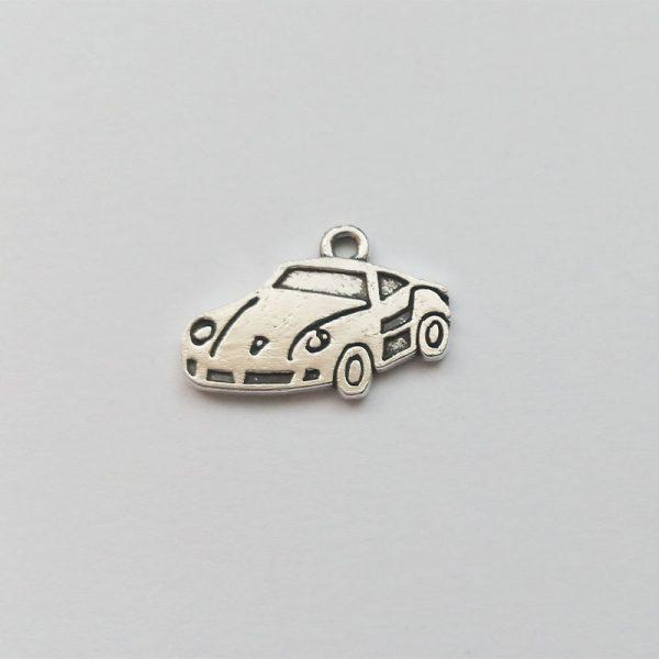 Fém függő ezüst színű kocsi autó versenyautó közlekedés jármű charm fityegő