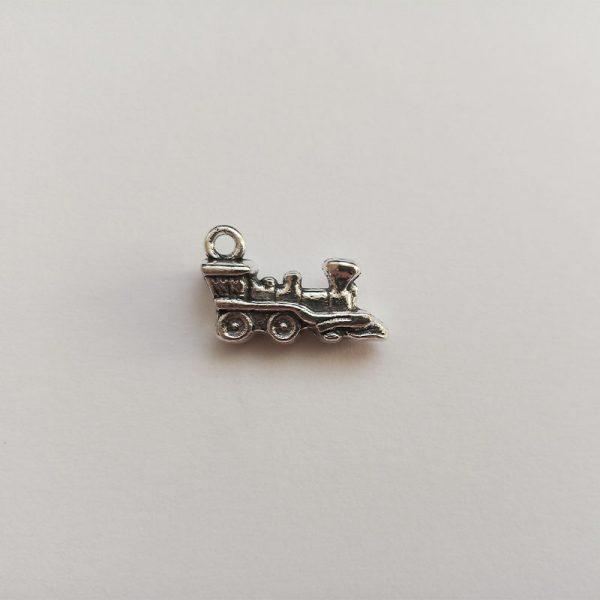 Fém függő ezüst színű vonat mozdony vasút közlekedés jármű charm fityegő
