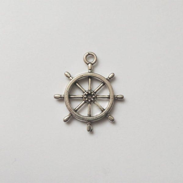 Fém függő charm fityegő ezüst hajó kormány utazás tenger nyaralás közlekedés vezetés vízi sport