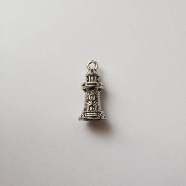 Fém függő ezüst színű világítótorony charm nyaralás hajózás utazásfityegő