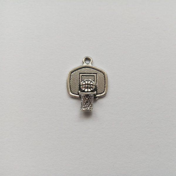 Fém függő charm fityegő ezüst színű sport kosárlabda palánk