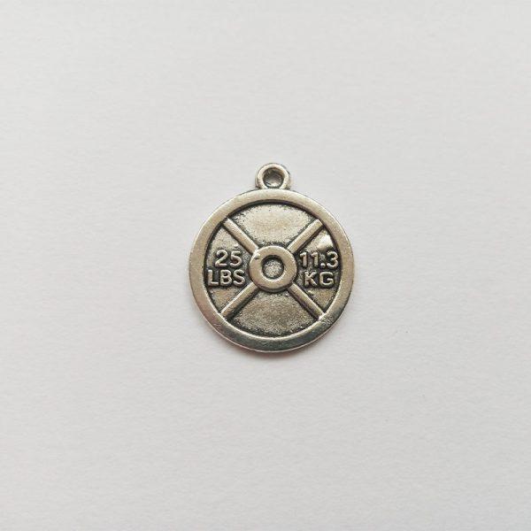 Fém függő charm fityegő ezüst színű súly tárcsa súlyemelés strongfirst